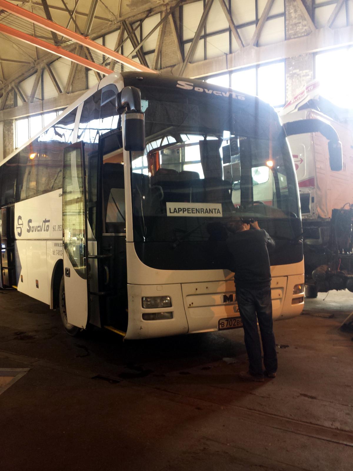 Устранение скола стекла автобуса MAN